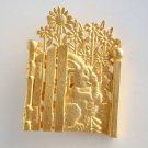 Rabbit in Gated Garden Brooch Sunflowers Matt Goldtone Figural Jewelry