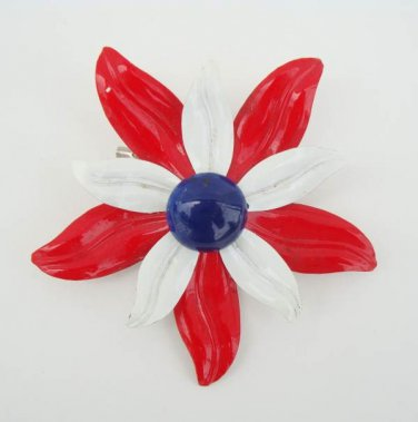 Red White Blue Flower Brooch Colorful Vintage Floral Jewelry