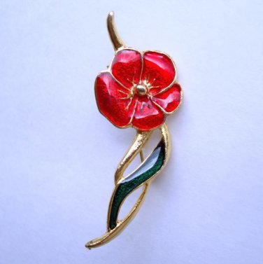 Red Green Enamel Pansy Pin Colorful Vintage Floral Jewelry