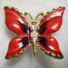 Two Red Enamel Butterfly Pins Large Small Rhinestones Colorful Figural Jewelry