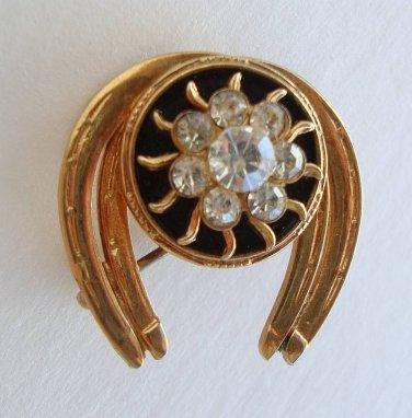 Small Horseshoe Pin Rhinestones Obsidian Vintage Equestrian Jewelry