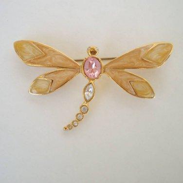 KJL Dragonfly Brooch Rhinestones Enamel Kenneth J Lane for Avon Figural Jewelry