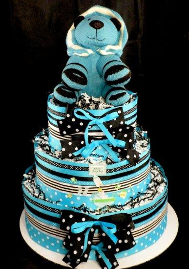 3 Tier Blue Lion Baby Shower Diaper Cake Centerpiece Gift Mod Blue and Black