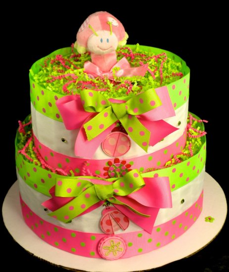 2 Tier Ladybug Diaper Cake Baby Shower Centerpiece Gift Girl Pink And Green Polkadot Mary Meyer