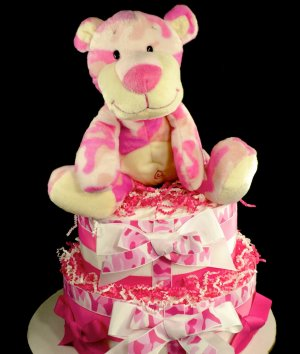 2 Tier Pink Camo Cat Diaper Cake Baby Shower Centerpiece Gift Girl Hunter Military Camouflage