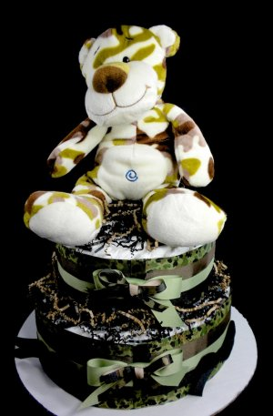 2 Tier Green Camo Cat Diaper Cake Baby Shower Centerpiece