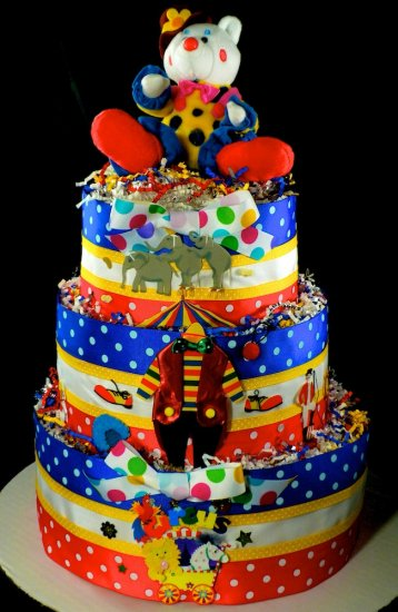 3 tier circus clown diaper cake baby shower centerpiece