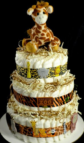 Tier Giraffe Visit To The Zoo Diaper Cake Baby Shower Centerpiece