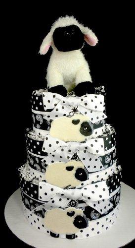 3 tier baa baa black white sheep diaper cake baby shower