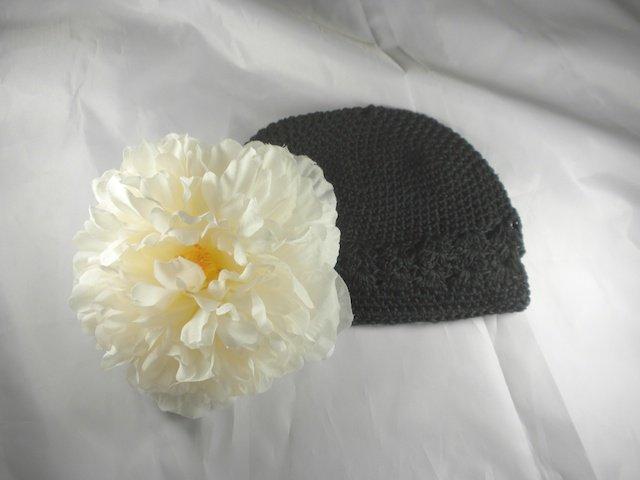 Black n' Cream Flower Waffle BEANIE Cap Hat Crochet Hair Flower Clip Baby Infant Toddler