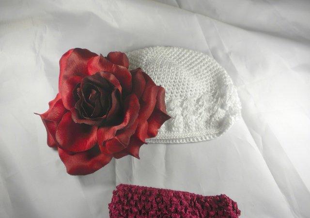 White n' Red Flower Waffle BEANIE Cap Hat Crochet Hair Flower Clip Baby Infant Toddler