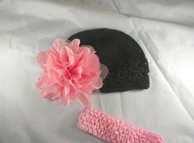 Pink n' Black Waffle BEANIE Cap Hat Crochet Hair Flower Clip Baby Infant Toddler Girl Brooch