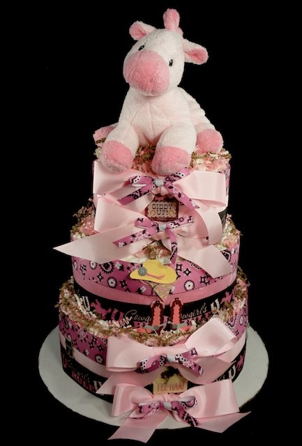 3 Tier Cowgirl Baby Girl Diaper Cake Baby Shower-5136