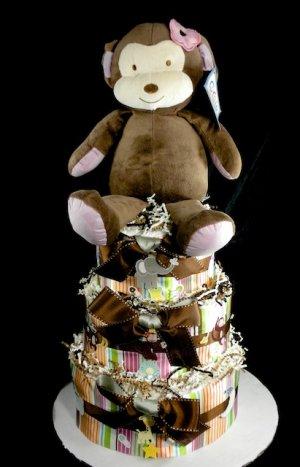 3 Tier Cocalo Jacana Monkey Diaper Cake Baby Shower Luxe Centerpiece