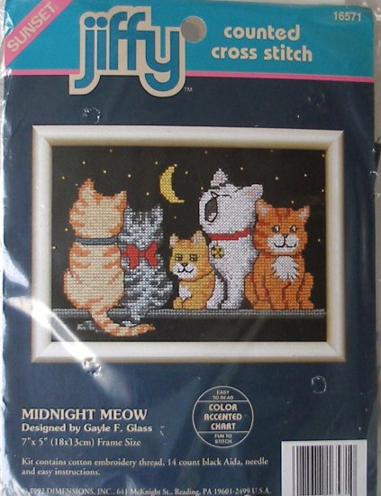 Midnight Meow Counted Cross Stitch