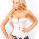 Classic Pinkish Lace Trim Overbust Corset Sz Large Code: AM2606