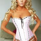 Elegant Lace Trimmed Satin Corset Sz Medium Code: AM2609