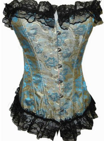 Lace Trimmed Floral Tapestry Boning Corset Sz Medium Code: AE2631