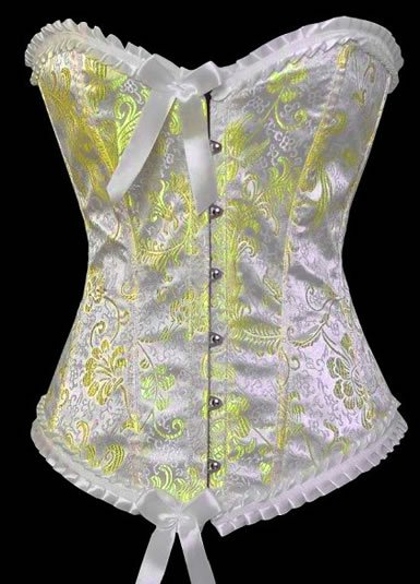 Satin Floral Print Corset with Scalloped Lace Trims Sz Small Code: AM2692