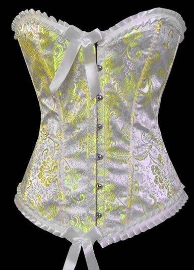 Satin Floral Print Corset with Scalloped Lace Trims Sz Medium Code: AM2692