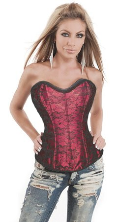 Steel Boned Embroidery Stretch Satin Corset-Code: AM2611