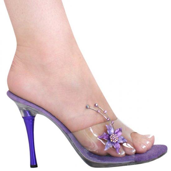 "Karo 0977 4"" Heel-Clear-Purple r/s/Purple Metal Heel"