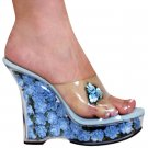 """Karo's 5"""" Clear/Baby Blue Flowers Style: 0555-Funo"""