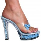 "Karo's 5"" Clear/Baby Blue Flowers Style: 0555-Nova"