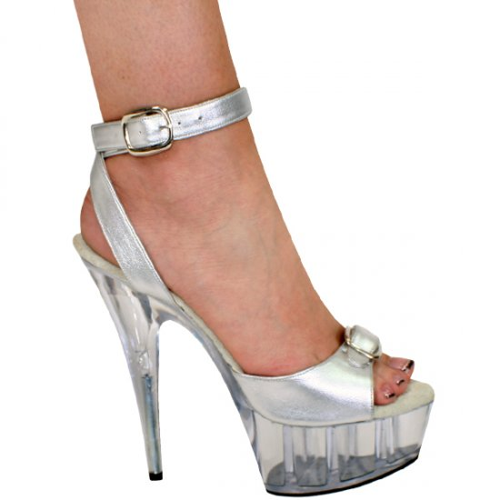 """Karo Silver Patent/Clear Style: 0034-6"""" Heel"""