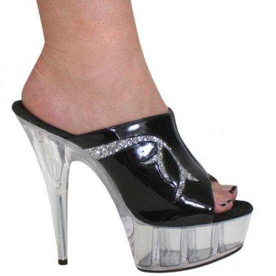 "Karo Black Patent/Clear Style: 0035-6"" Heel"