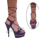 "Karo purple leather, 6"" swarovski r/s Style: 3238-6"" Heel"
