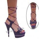"Karo purple leather, 6"" swarovski r/s Style: 3238-6"" Heel"