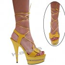 "Karo Yellow leather, 6"" swarovski r/s Style: 3238-6"" Heel"