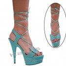 """Karo turquoise leather, 6"""" swarovski r/s Style: 3238-6"""" Heel"""