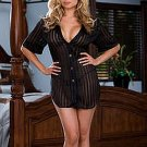 """Dreamgirl"" - Striped Chiffon Shirt Styled Babydoll and Matching Thong 1X/2X / 24L-DG6236"