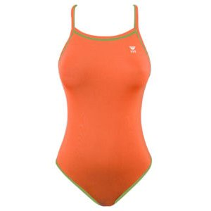 TYR Double Binding Reversible Swimsuit (Orange & Green) Size: 28