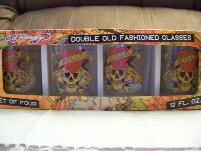 Ed Hardy Set of 4 Double Old Fashioned Glasses New