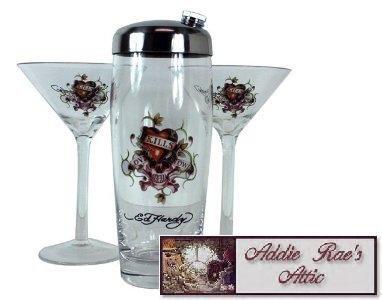 Ed Hardy Martini Glass Shaker Set