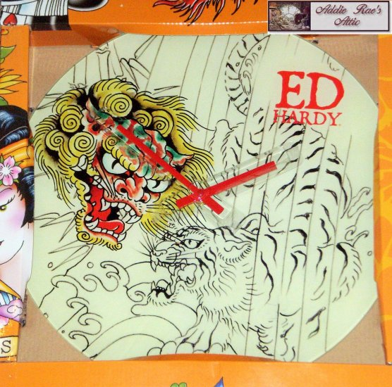 Ed Hardy Tattoo Tiger Design Glass Clock