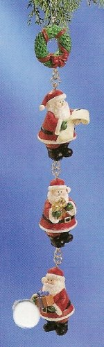 Russ Berrie Christmas Ornament - Santa's Village Santa Dangle Wreath FREE USA SHIPPING