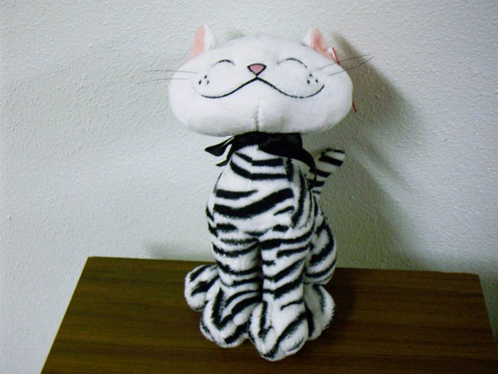 "Russ Berrie Plush Cat - Aggie - 10"" White / Black FREE USA SHIPPING!!"