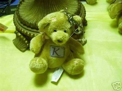 Russ Berrie With Love Bears Clip On - Personalized - Initial K  FREE USA SHIPPING!!!