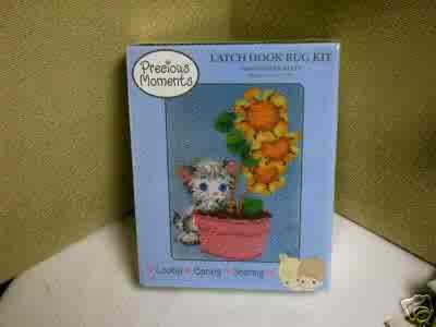"Latch Hook Kit - Precious Moments Flower Kitty - 20"" x 27""  FREE USA SHIPPING!"