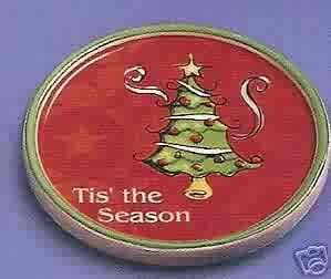 Russ Berrie Christmas Wine Cellar - Wine Glass Coaster - 'Tis the Season  FREE USA SHIPPING!