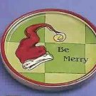 Russ Berrie Christmas Wine Cellar - Wine Glass Coaster - Be Merry FREE USA SHIPPING
