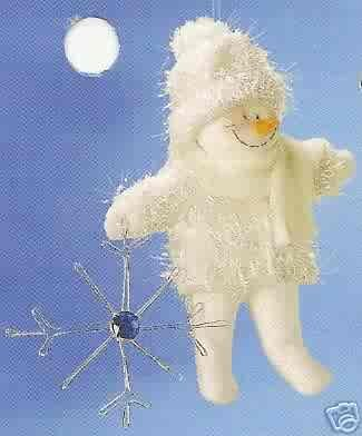 Russ Berrie Christmas Ornament - Winter Snowman with Dangling Snowflake FREE USA SHIPPING!