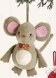 Russ Berrie Santa's Toyland Ornament - Plush Mouse FREE USA SHIPPING!
