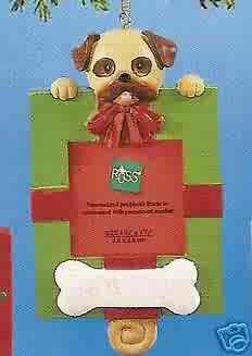 Russ Berrie Wags to Whiskers Christmas Ornament - Tan Dog Green Photo Frame FREE USA SHIPPING
