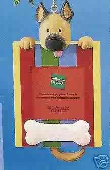 Russ Berrie Wags to Whiskers Christmas Ornament - Tan Dog Photo Frame FREE USA SHIPPING
