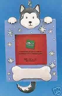 Russ Berrie Wags to Whiskers Christmas Ornament - Husky Dog Photo Frame FREE USA SHIPPING